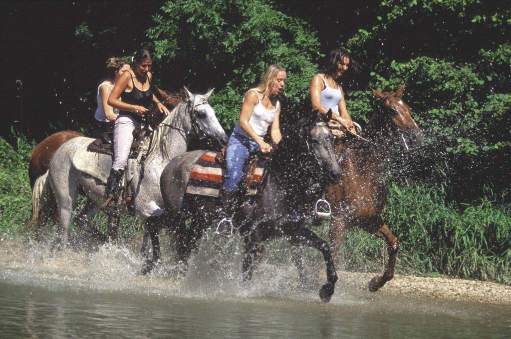 Cavaliers dans une rivière