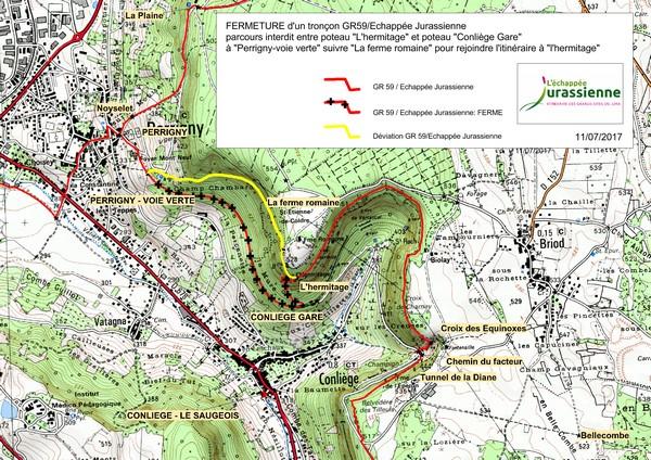 Carte modification parcours EJ - Conliège