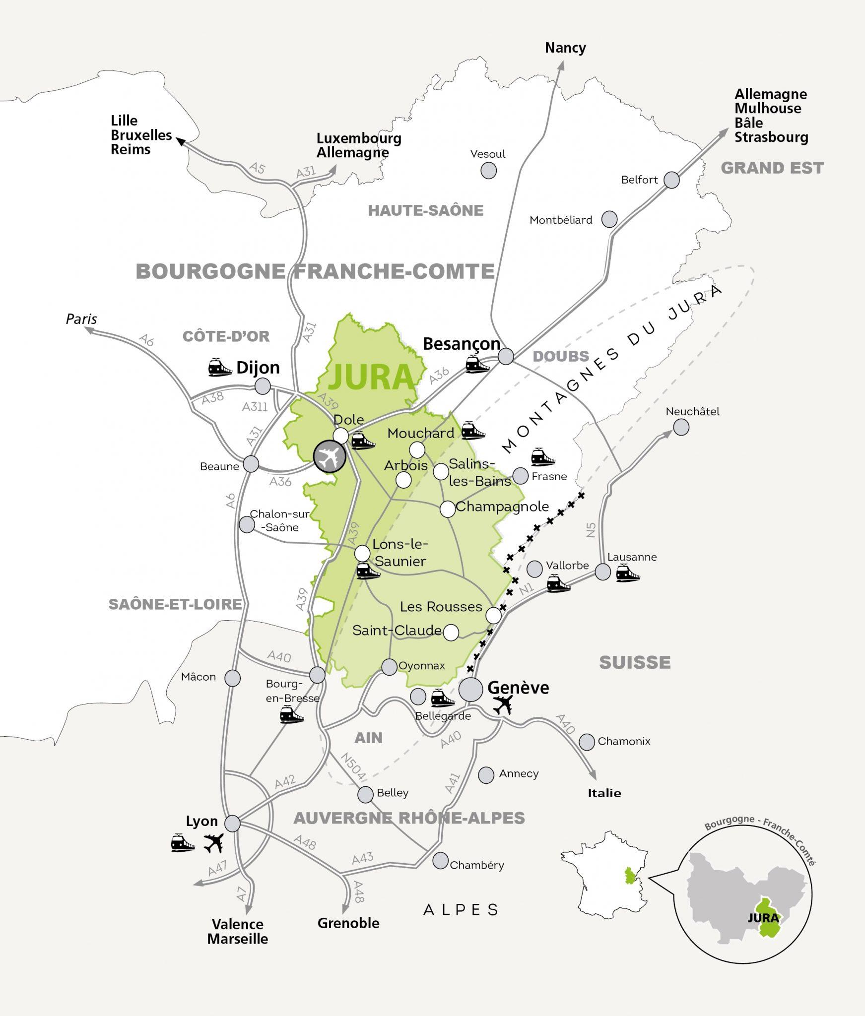 carte touristique du jura Département du Jura, Venir dans le Jura, Carte et Plan   Jura Tourisme