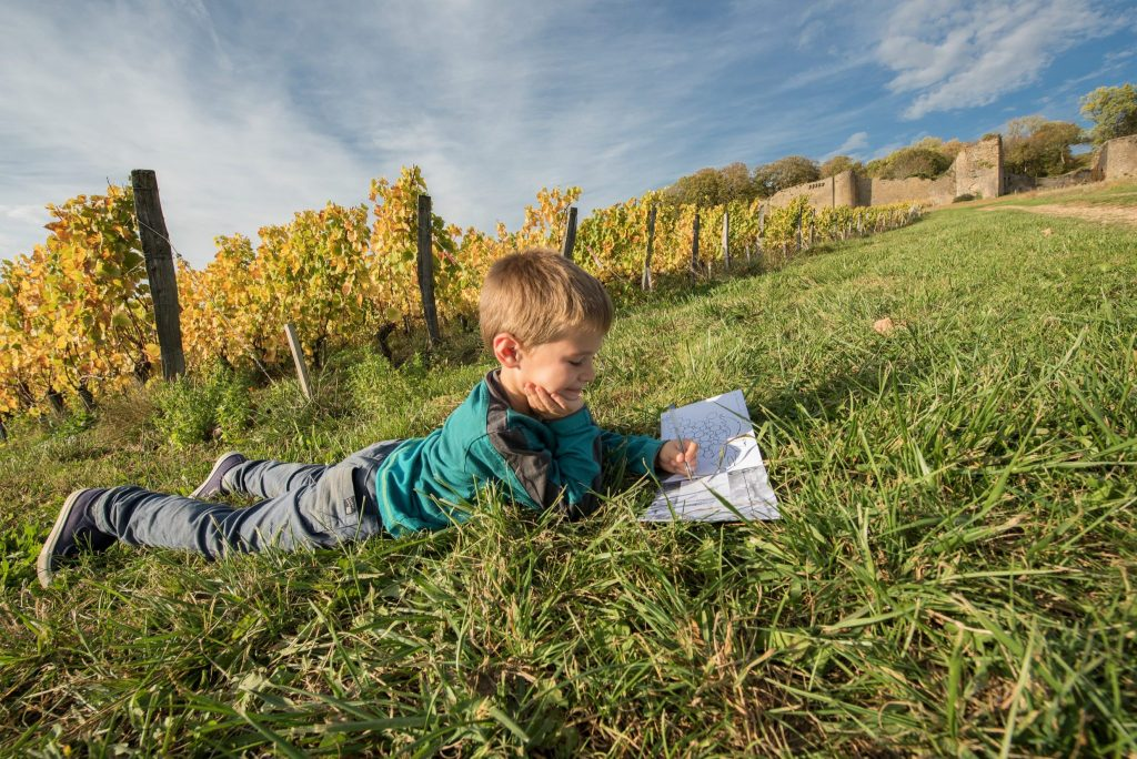 Enfant dans les vignes du Château d'Arlay © Nicolas Gascard/Jura Tourisme